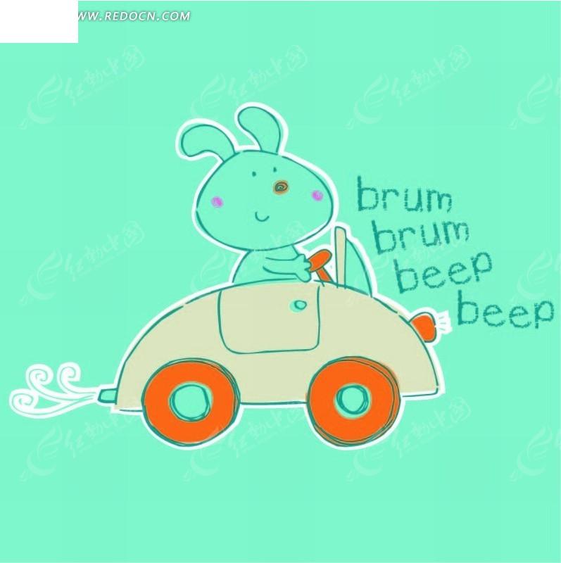物插画 开车的小白兔矢量图 印花图案