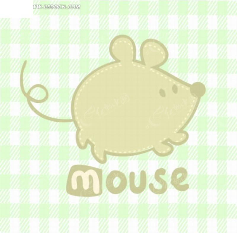 格子背景 老鼠 虚线 手绘