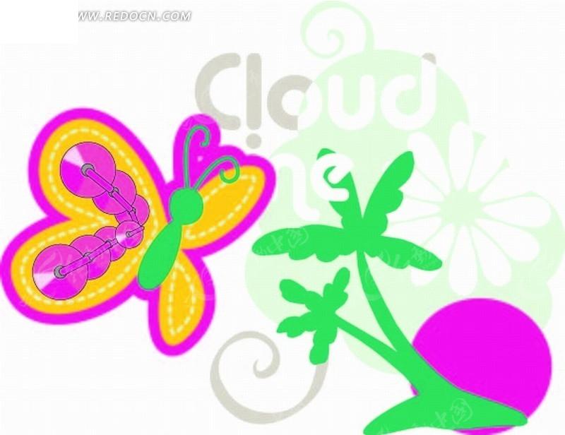 矢量印花图案-绚丽蝴蝶和椰子树太阳; 卡通动物插画-描红边的蝴蝶和