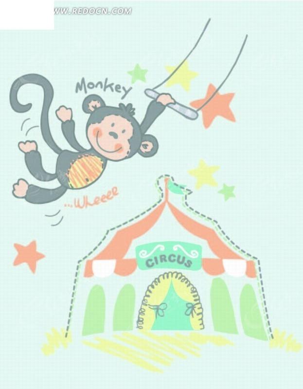 矢量印花图案 荡秋千的猴子和城堡AI素材免费下载 编号2045115 红动网