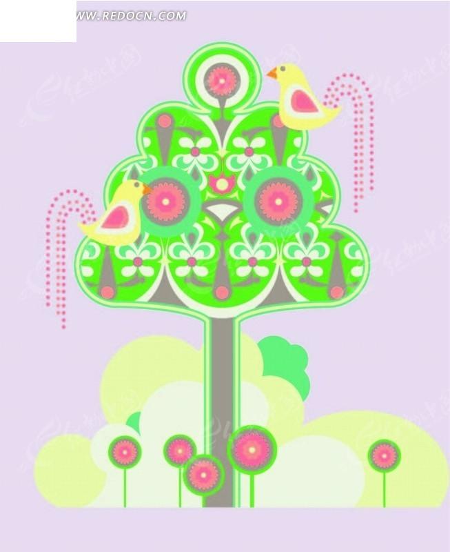 卡通动物插画-树上的小鸟白云