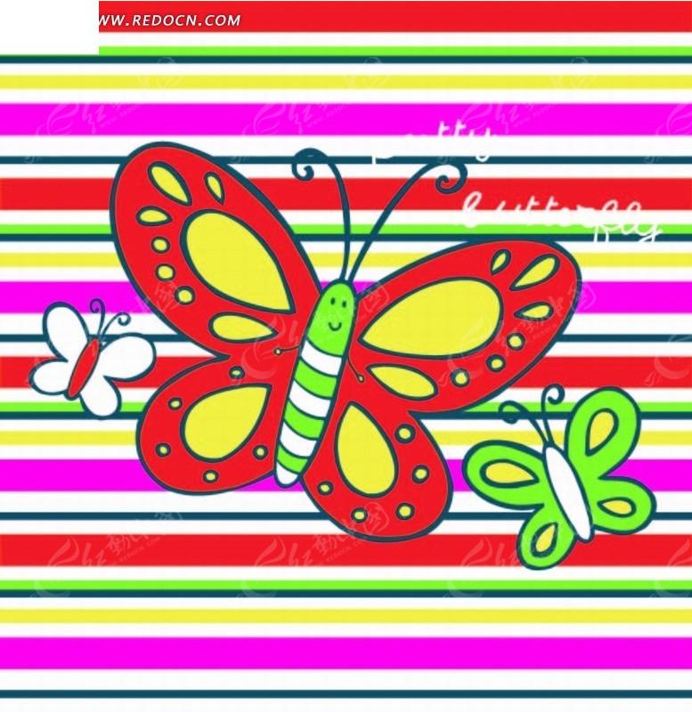 动物插画 彩色条纹和花蝴蝶AI素材免费下载 编号2045101 红动网