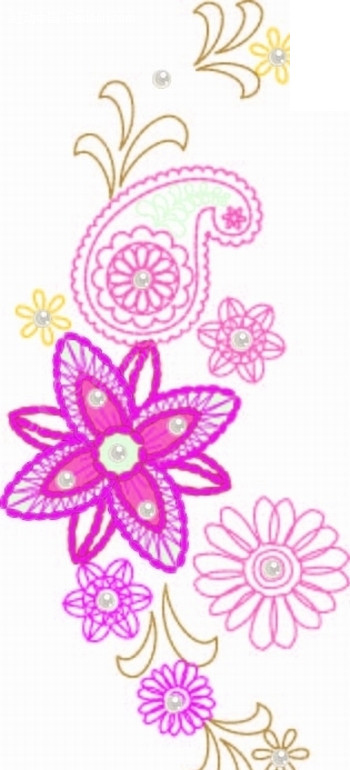 绚丽 火腿纹 花朵 叶子 手绘 卡通 漫画 印花图案 矢量素材