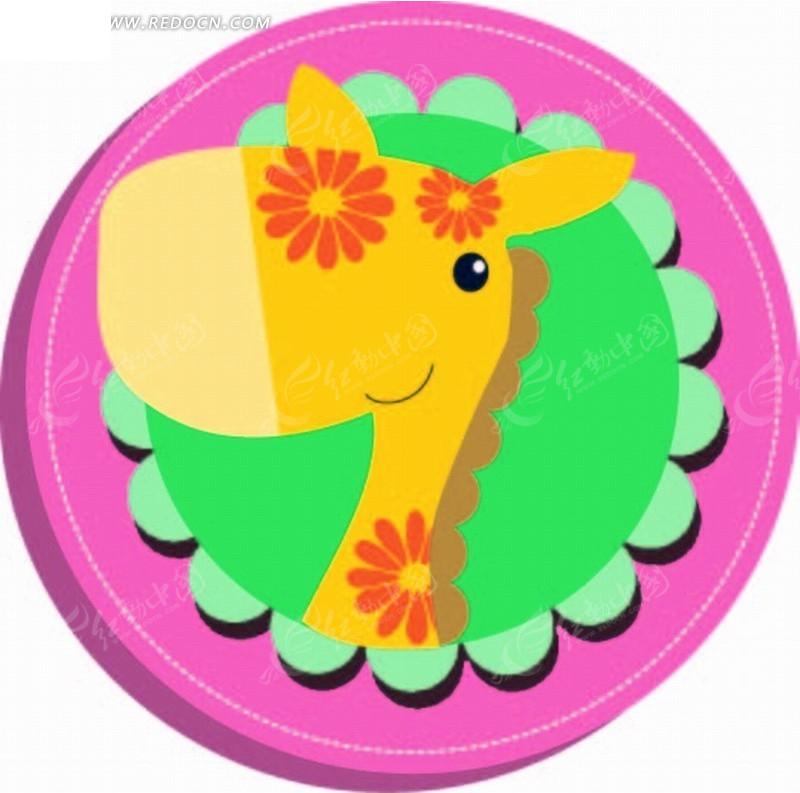 卡通动物插画-圆环的花朵小马