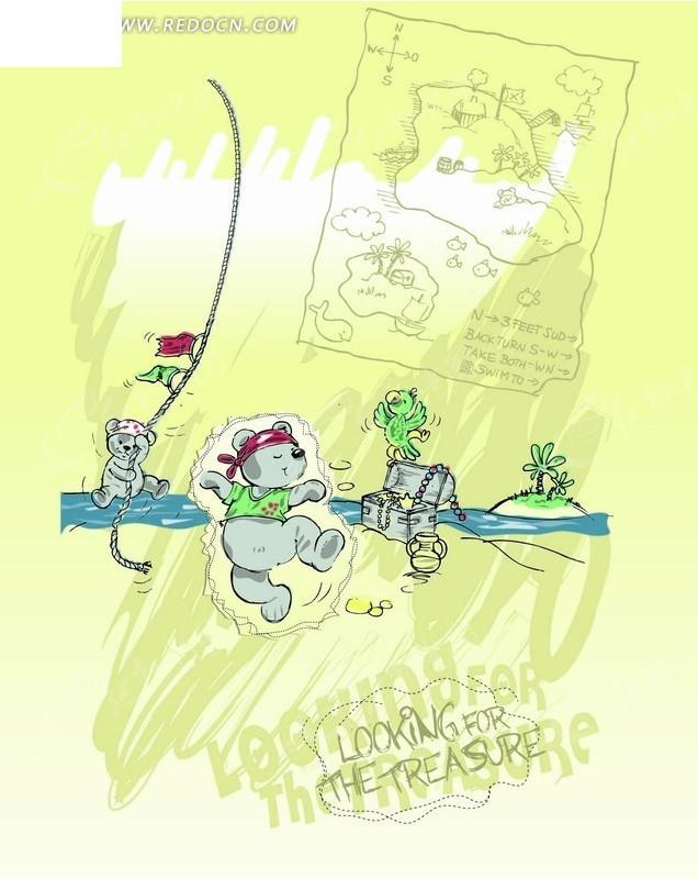 卡通画 水塘边跳舞的小熊和开心的鹦鹉AI素材免费下载 编号2045725 红动网