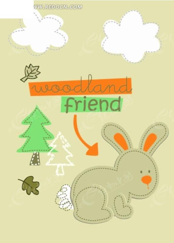 卡通动物插画-小兔子和树白云图片