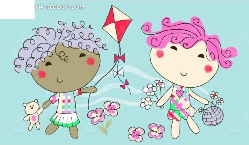 矢量印花图案 放风筝的小女孩和拿花朵的小女孩矢量图 印花图案图片