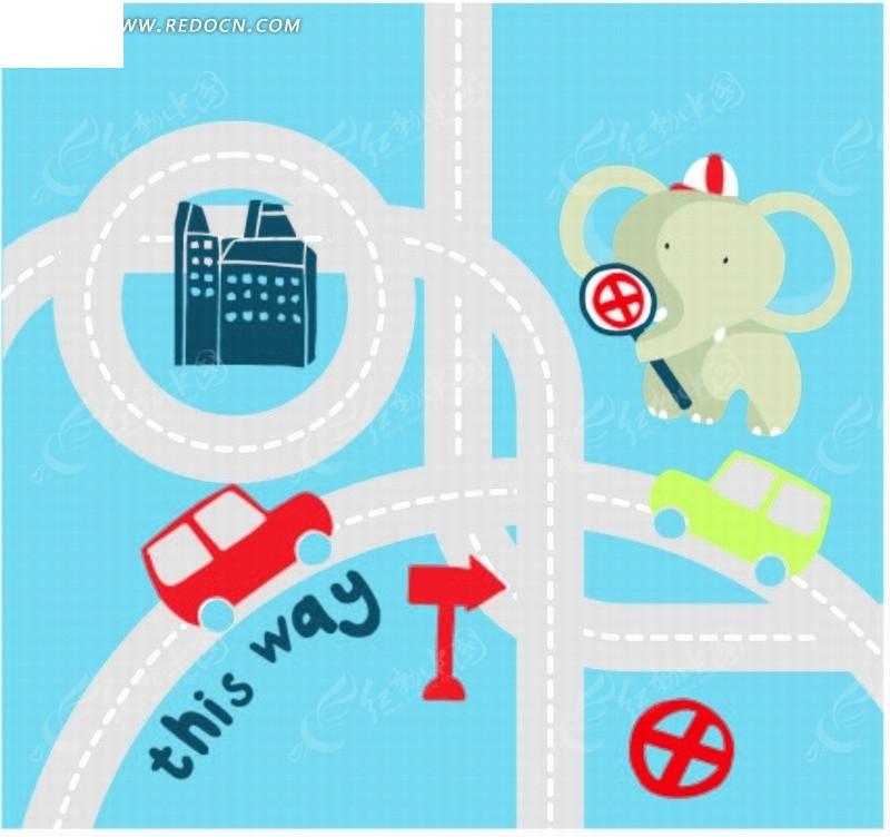 高速公路 大象 汽车 方向牌 卡通 卡通动物 漫画 漫画动物 插画 绘画
