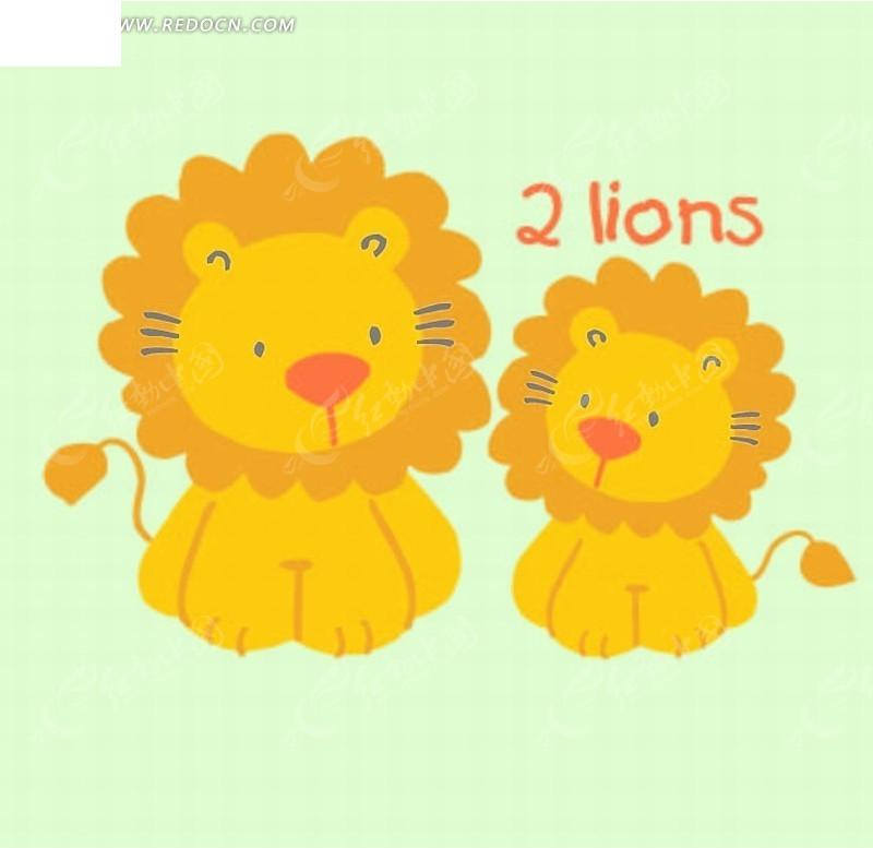 矢量印花图案-大狮子和小狮子