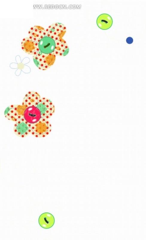 手绘彩色花朵和绿色纽扣