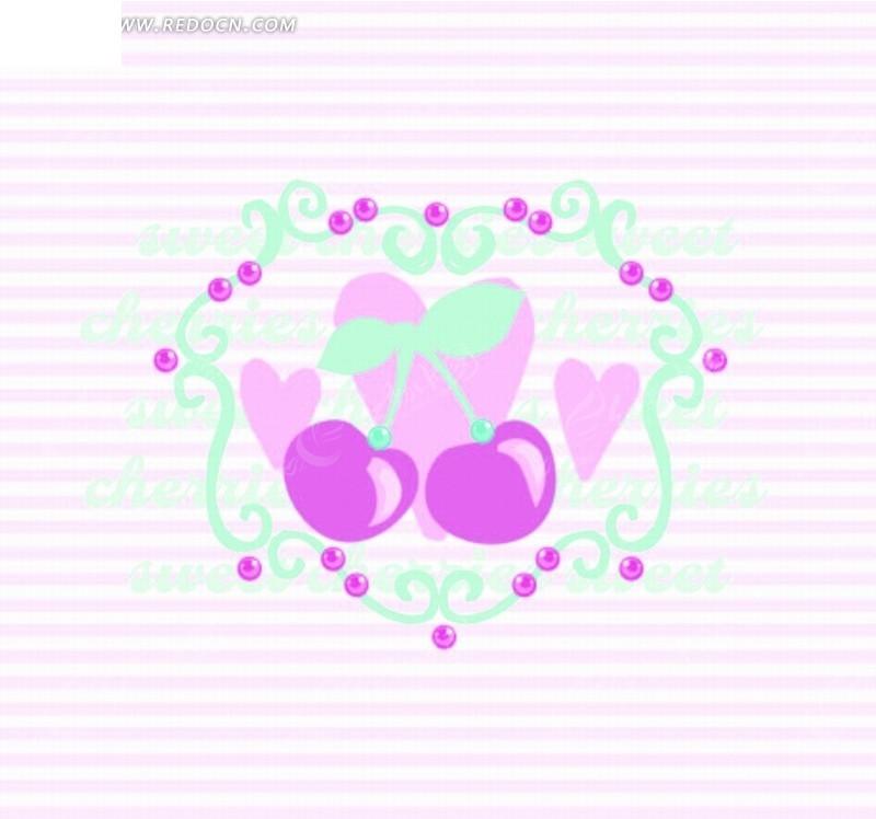 矢量卡通插画-樱桃花纹叶子矢量图_印花图案