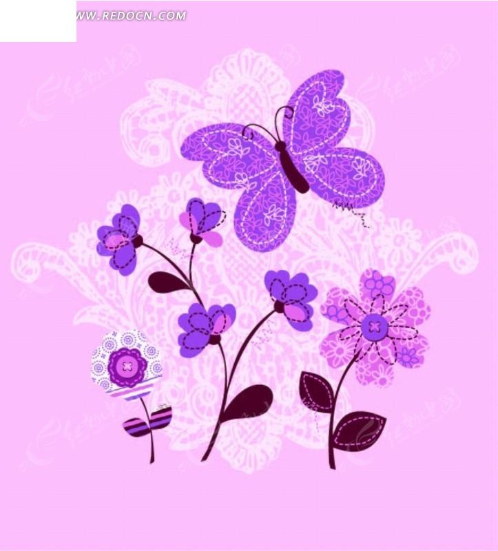 矢量印花图案-欧式花纹和蝴蝶叶子