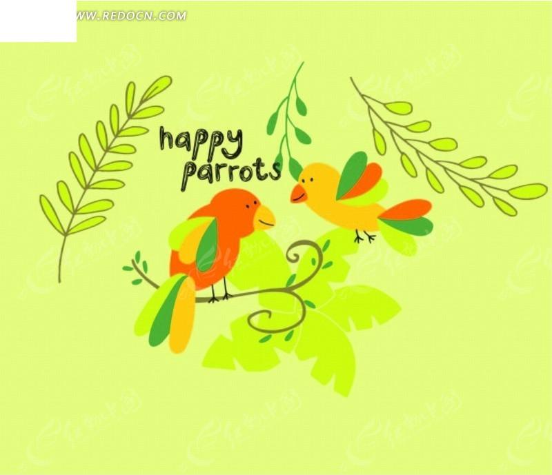 站在树枝上 小鸟 叶子 植物 插画 绘画 卡通 卡通动物 漫画 漫画动物