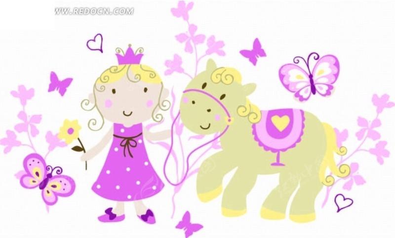 卡通画—花朵和牵着马的公主