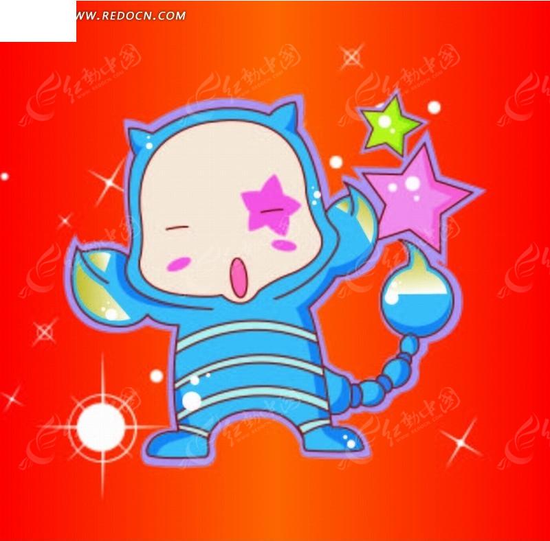 卡通蓝色男生天蝎座双鱼座星座喝醉酒后的表现图片