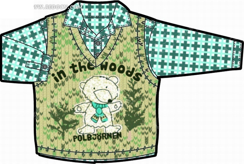 衬衫 树木 植物 小熊 毛衣 衬衫 服装设计  印花图案 矢量素材
