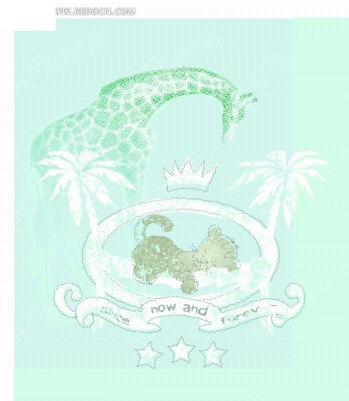 免费素材 矢量素材 花纹边框 底纹背景 矢量卡通插画-长颈鹿猫椰子树