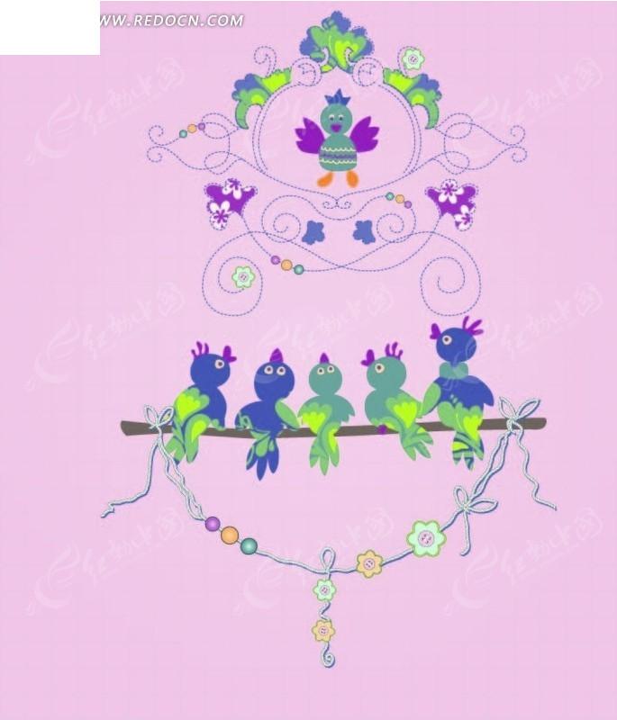 花纹 小鸟 叶子 卡通 卡通动物 漫画 漫画动物 矢量 卡通 插画 绘画