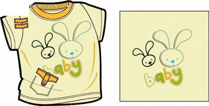 卡通画—画着兔子头像的t恤