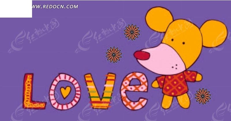 卡通画—彩色英文和可爱的老鼠