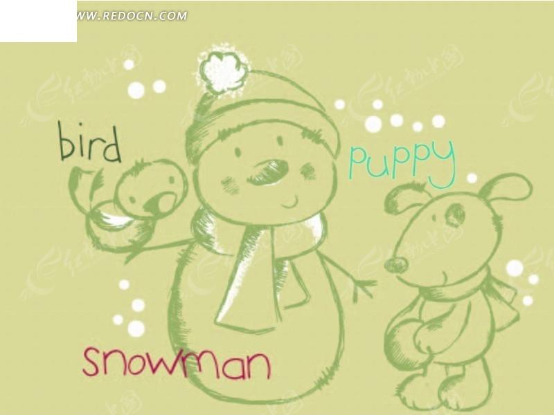 矢量卡通插画-线条雪人和小熊