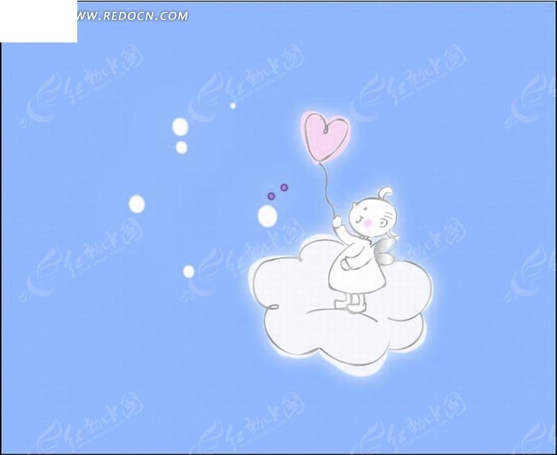 云朵 小蜜蜂天使 卡通 卡通动物 漫画 漫画动物 矢量 插画 绘画 印花