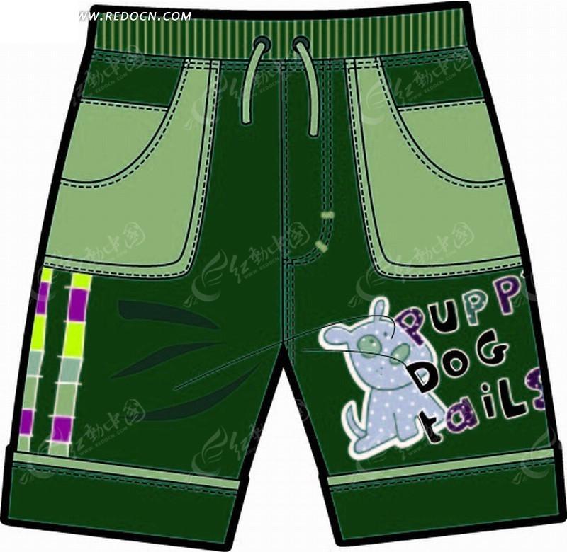矢量素材 花纹边框 印花图案 > 小狗图案的绿色短裤  免费下载我要改