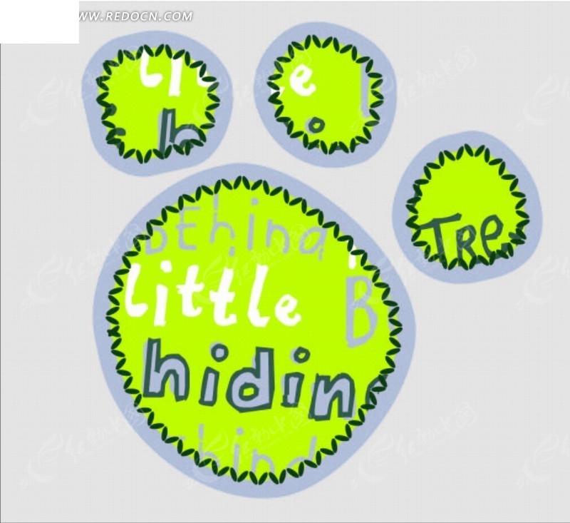 免费素材 矢量素材 花纹边框 印花图案 绿色的脚印