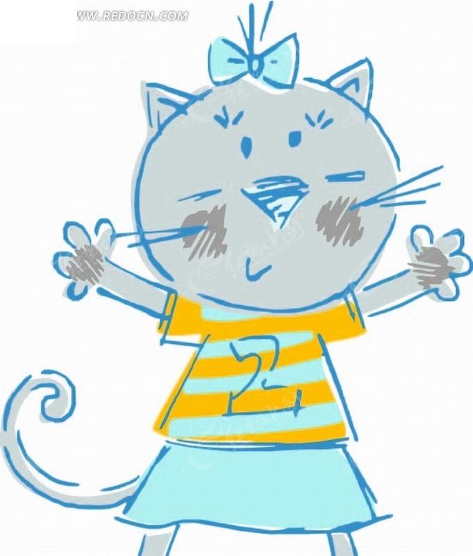 张开双手 猫咪 小猫 线条 图形标识 手绘 插画 卡通 漫画 印花图案