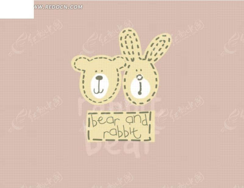 卡通动物插画-描虚线的小熊和小白兔头像