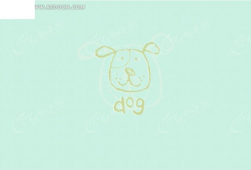 蓝色背景 手绘绿色小狗头像 英文 动物  印花图案 矢量素材