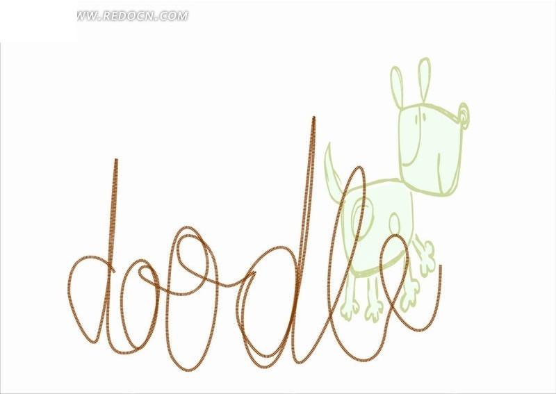 英文和手绘绿色小狗矢量图