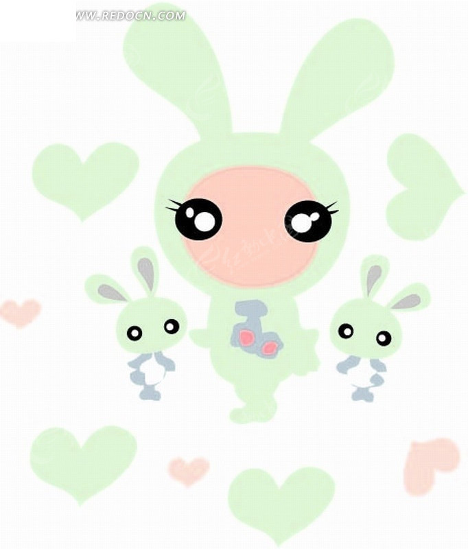 卡通画—心形和兔子
