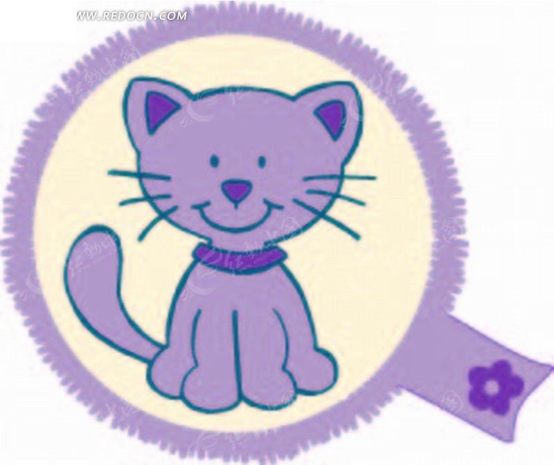 矢量印花图案-紫色圆形的猫图片