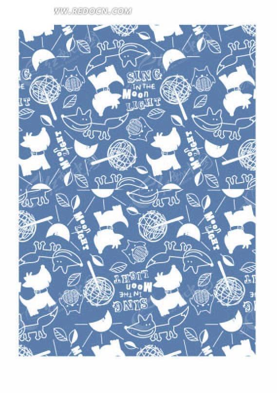 蓝色底的手绘狐狸和叶子以及月亮底纹矢量图_底纹背景