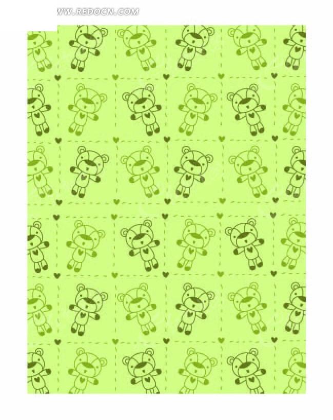 绿色底 格子 心形 手绘小熊 动物 底纹 背景素材 矢量素材