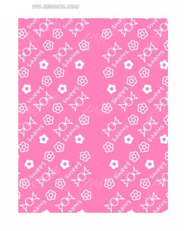 粉色底的手绘花朵英文和糖果底纹