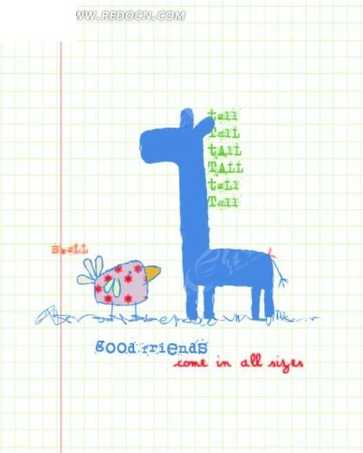 蓝色网格上的手绘长颈鹿和小鸟