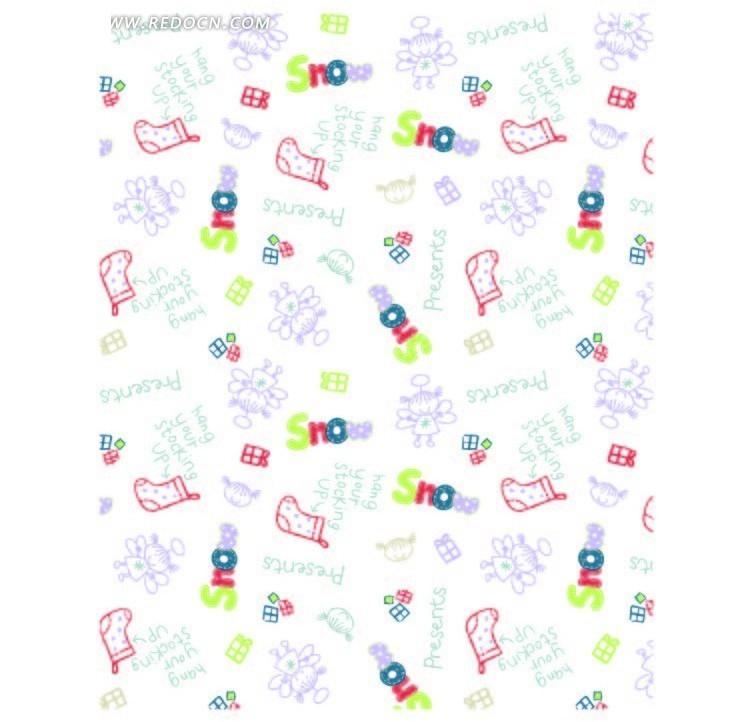 手绘袜子礼物盒和天使女孩底纹矢量图