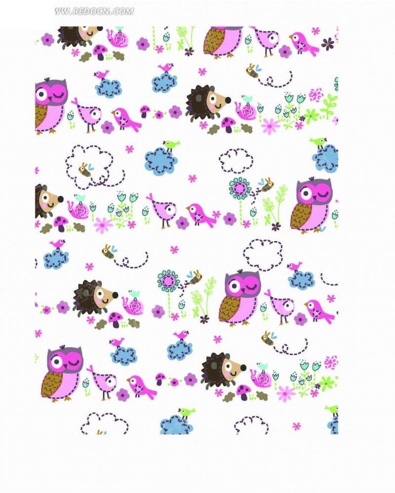 手绘云朵蜜蜂和刺猬以及猫头鹰底纹矢量图_底纹背景