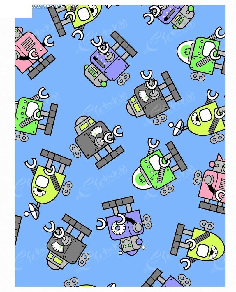 蓝色底的彩色手绘机器人底纹