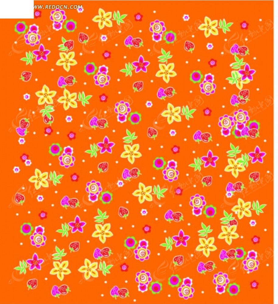 桔红色底的手绘花朵枝条和草莓底纹