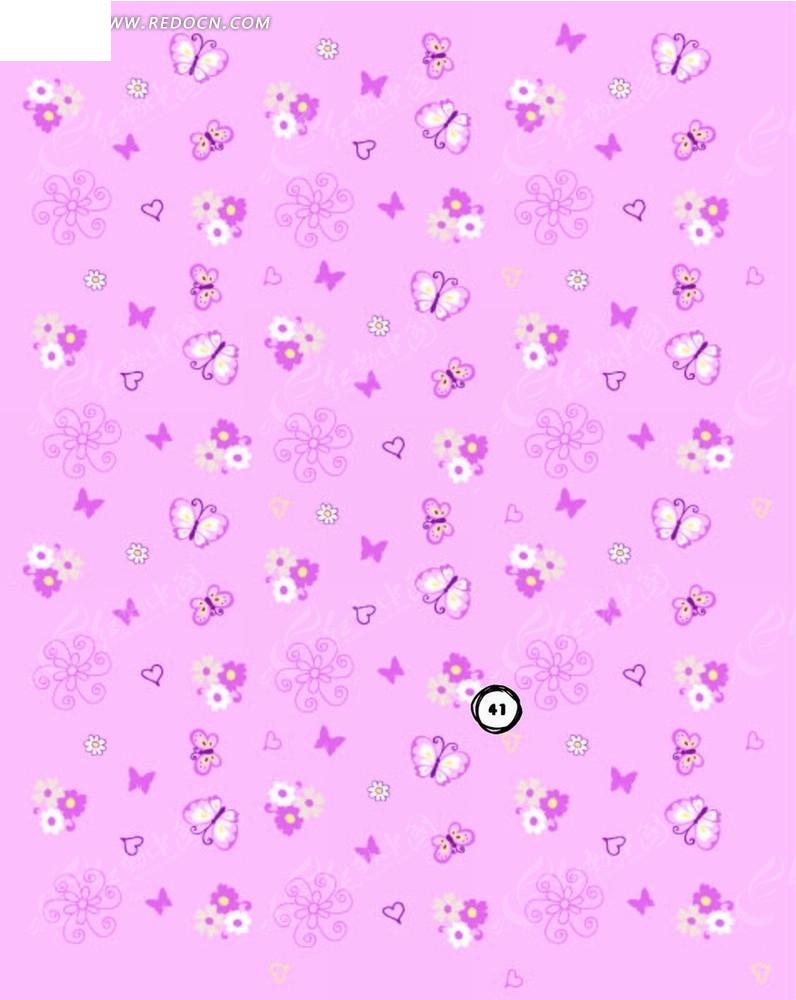 粉色底 手绘蝴蝶 花朵 粉色背景 底纹 背景素材 矢量素材