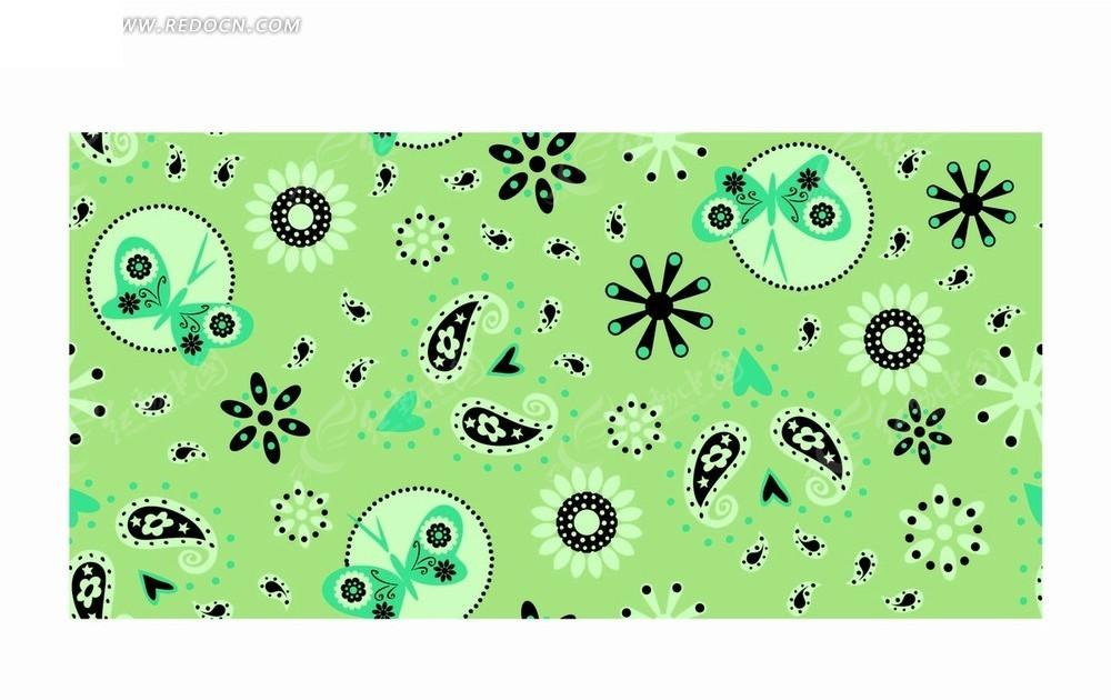 绿色底的手绘花朵心形蝴蝶和鱼形花纹底纹