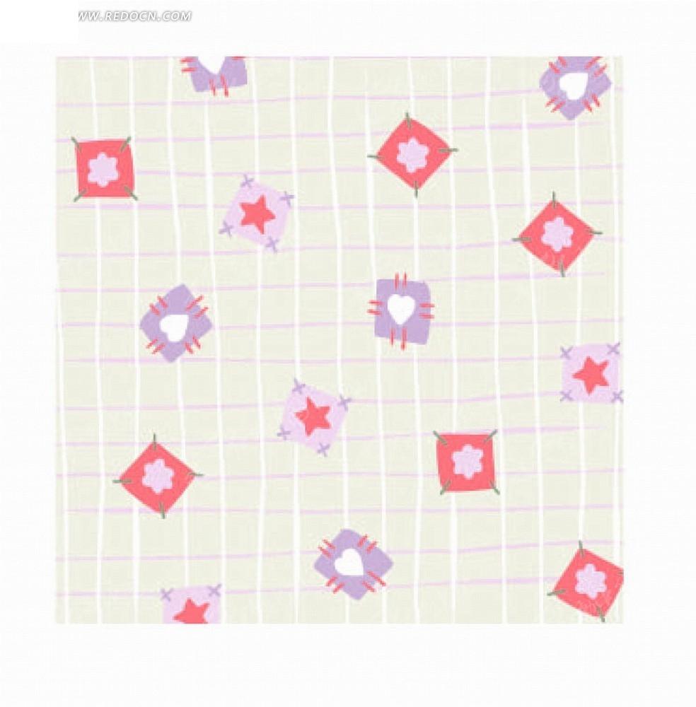 格子背景的手绘花朵心形和五角星底纹