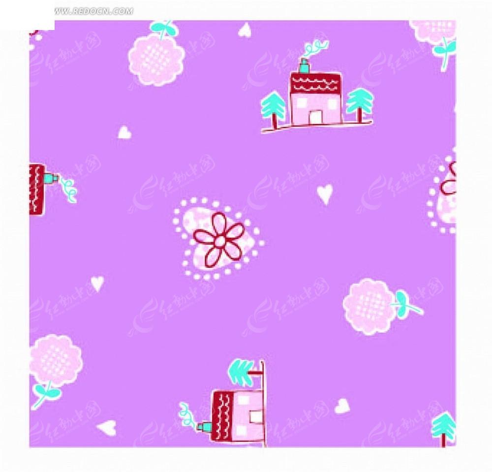 紫色底的手绘心形和花朵以及房屋底纹ai素材免费下载