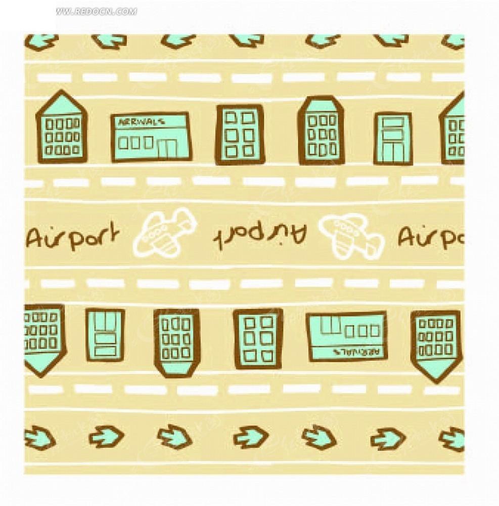 黄色底的手绘虚线和英文飞机以及房屋底纹矢量图ai