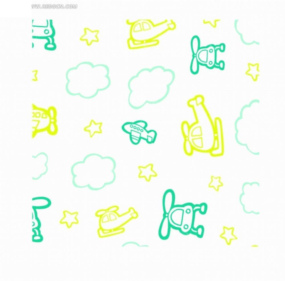 白色底的手绘云朵和五角星以及飞机底纹矢量图