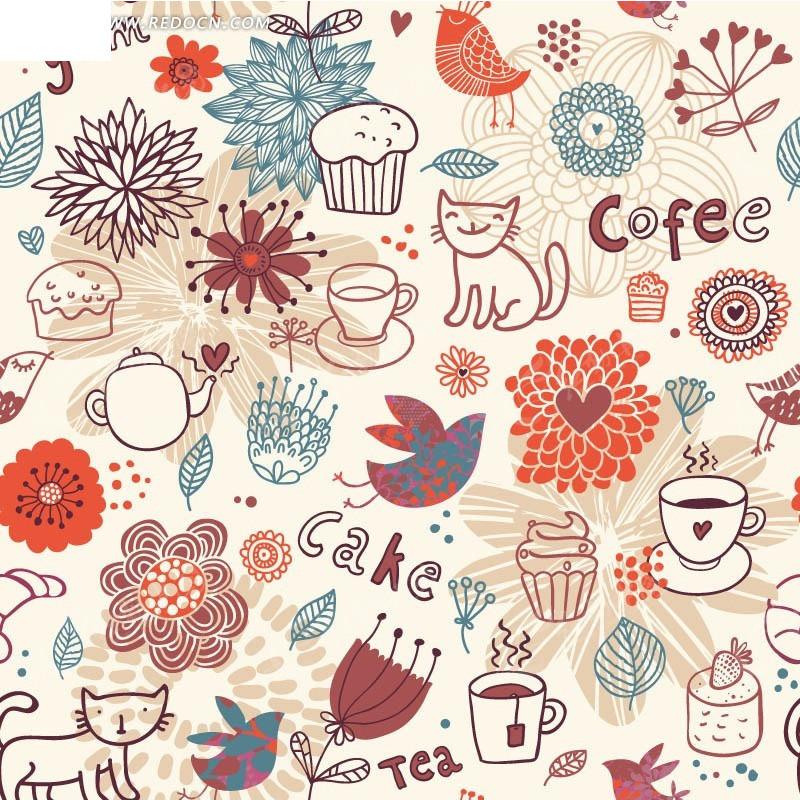 粉色底 手绘花朵 蛋糕 杯子 猫咪 小鸟 动物 底纹 背景素材 矢量素材