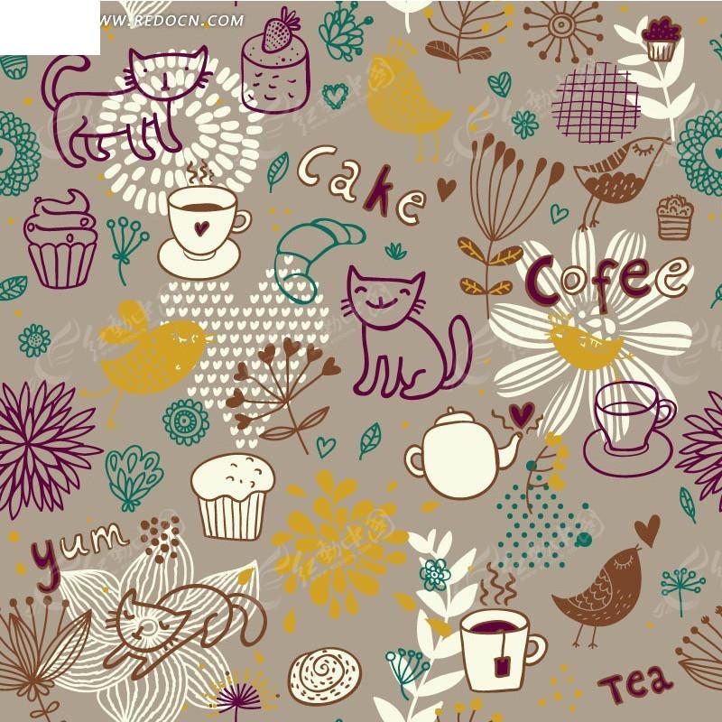 棕色底的手绘咖啡杯蛋糕小鸟和花朵底纹